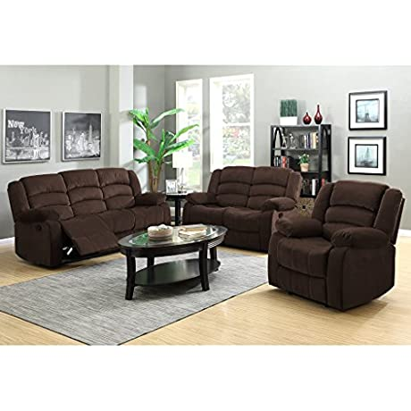 LANGRIA 1 2 3 Reclining Velvet Upholstery Loveseat Sofa Couch With Recliner Chair Set Split Back Design Manual Reclining Mechanism Pillow Top Backrest And Armrests Elevating Footrests Chocolate