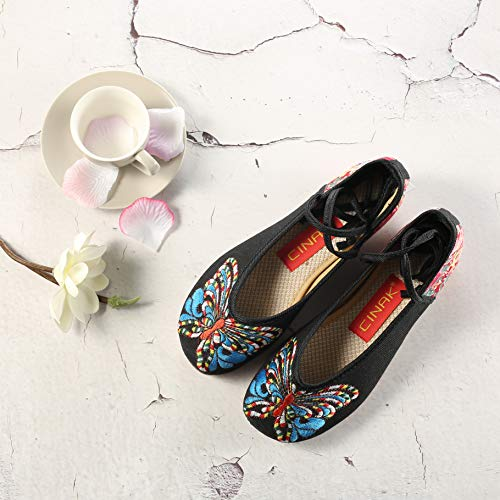 Round Style Embroidery Embroidered 102 Chinese Flats Black Butterfly Shoes Ballet Loafers Black CINAK Toe 8WR1W