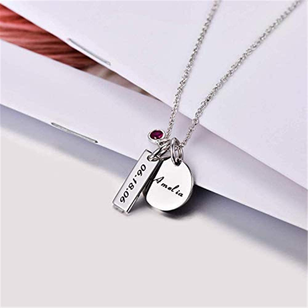 EYECO Custom Engraved Name Bar Necklace With Birthstone Personalized 925 Silver Pendant Necklaces unique Birthday Gift