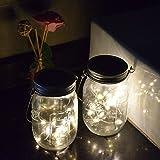Solar Powered Mason Jar Hanging Lights 2-Pack 20 LED Solar / Hanging Lantern Decor Table Light, Patio Path Light, Warm White Lamp for Garden Patio Outdoor Solar Lanterns( Mason Jar & Hanger Included …