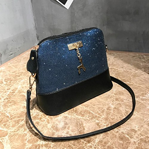 Bags Crossbody Glitter Sixcup Casual Casual Model Fashion Blue Ladies Handbag Shoulder Packet Messenger PU Women Leather Shell wXqr58q