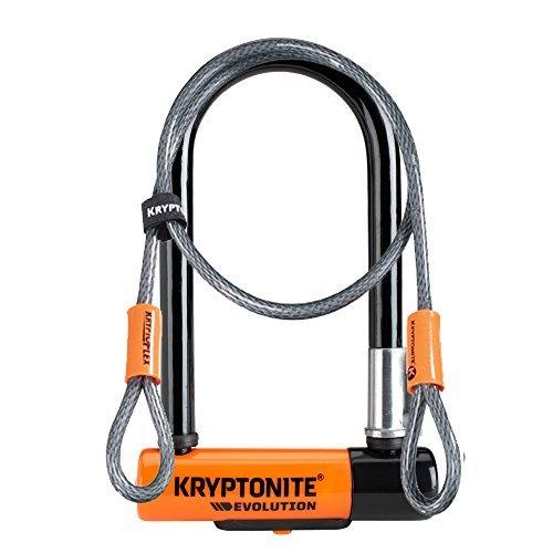 Kryptonite Evolution Mini-7 Heavy Duty Bicycle U Lock w/ 4' KryptoFlex Double Loop Bike Cable