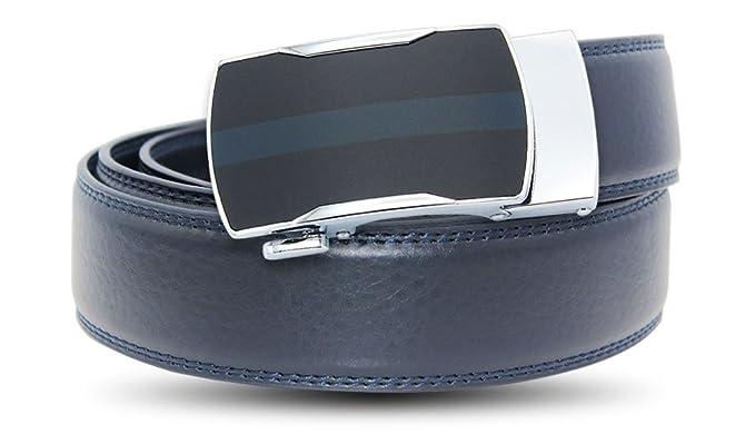 EZ CLICK BELTS Men's Blue Leather Ratchet Belts