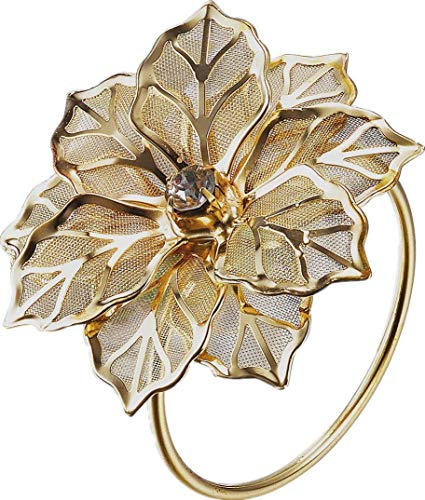 12pcs Alloy Napkin Rings with Hollow Out Flower Napkin Holder Adornment for Home Kitchen Dining Room Wedding Banquet Parties Everyday Christmas Dinner Decor Favor Set, Gold