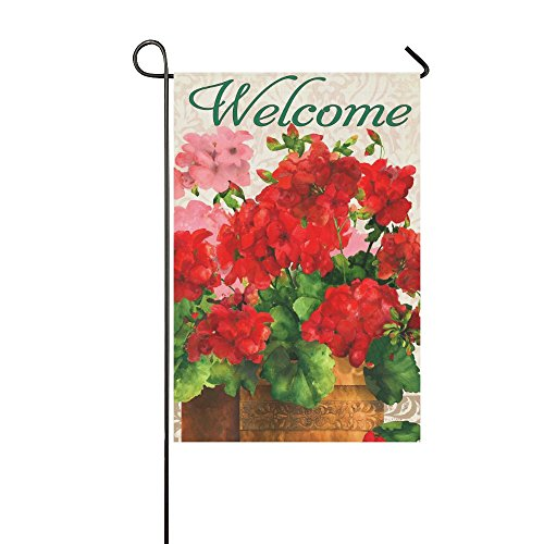 Small Mim Welcome Red Geraniums Garden Flag Holiday Decoration Double Sided Flag 12.5