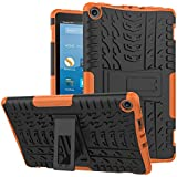 Fire HD 8 Case -[Kickstand Feature],Cherrry Shock-Absorption/High Impact Resistant Heavy Duty Armor Defender Case for Fire HD 8 Tablet (2017/2018 Release,7th/8th Generation) (Orange)