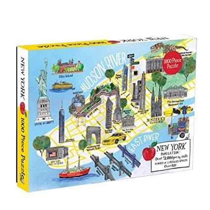 Map Of New York Landmarks.Amazon Com Galison New York City Map 1000 Piece Puzzle Galison