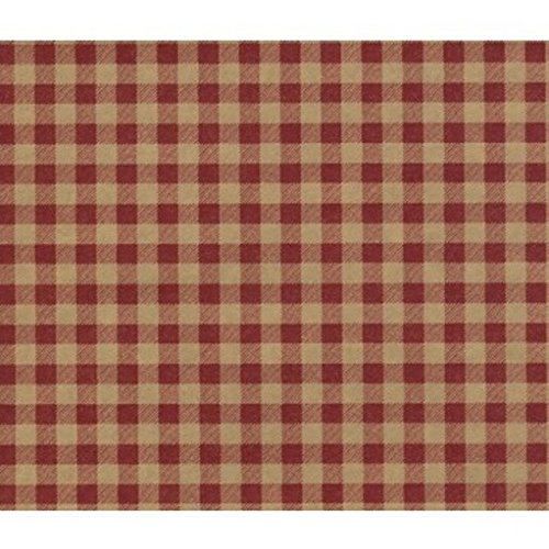 Red Gingham on Kraft Gift Wrapping Paper -Two 30 In x 6 Ft Sheets
