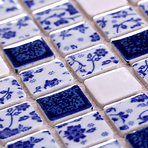 - Hominter 6-Sheets Blue and White Ceramic Tile Backsplash, Glazed Porcelain Mosaic Square Tiles, Perfect for Kitchen/Bathroom / Swimming Pool ADT33