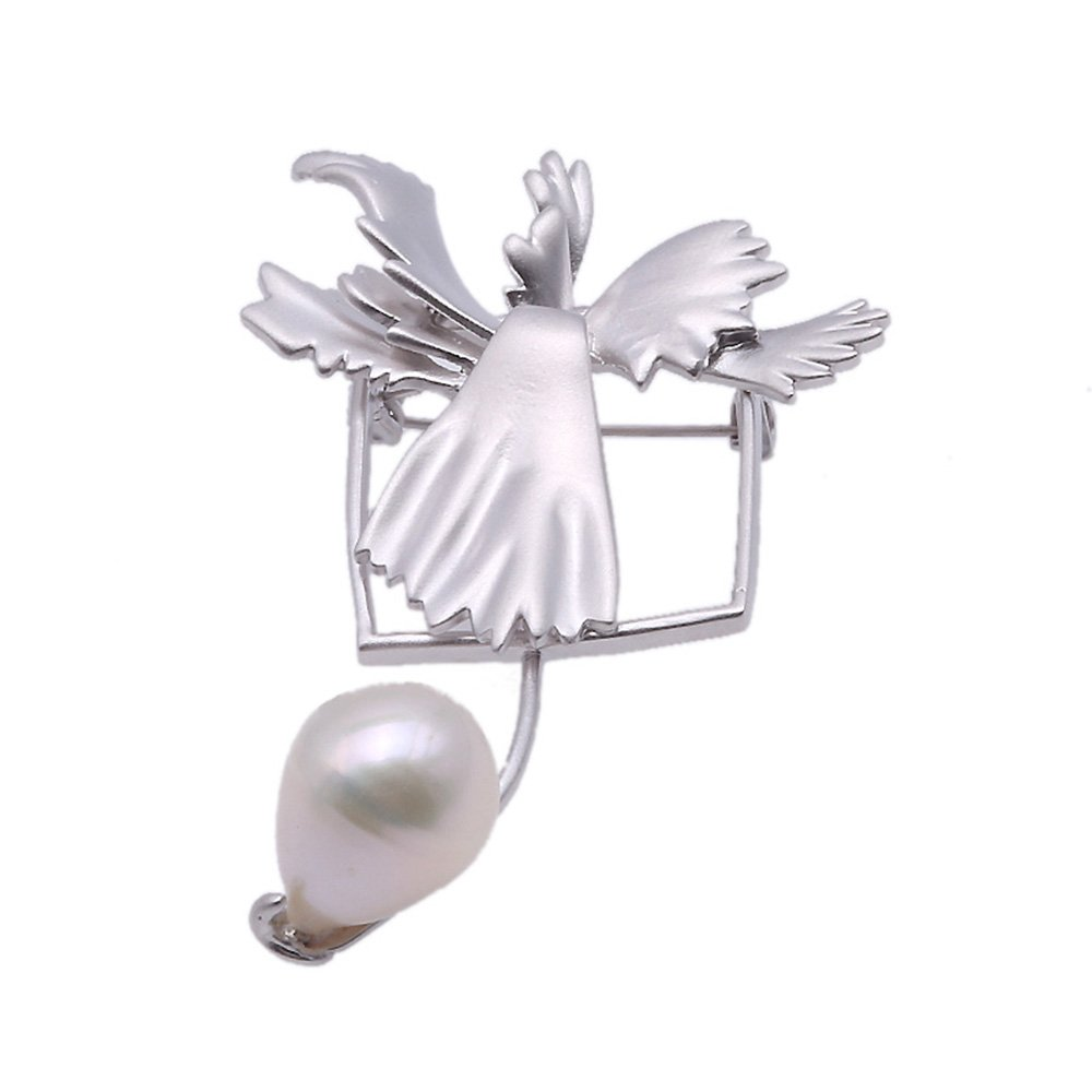 jyx Lovely blanco Pearl broche pins- cumpleaños boda regalo ...