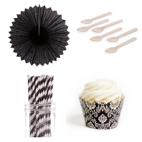 Dress My Cupcake DMC432842 Dessert Table Party Kit with Pinwheel Fans and Standard Wrappers, Ivory Damask