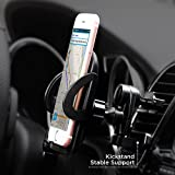 IPOW Universal Smartphones Car Vent Mount Holder Cradle With Kickstand,Metal Spring-loaded Lever Hook & One Button Released Clamp