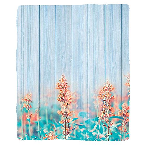 VROSELV Custom Blanket Floral Flourishing Flowers Floral Blooms Garden Country House on Oak Plank Image Soft Fleece Throw Blanket Coral Sky (Plank Park Lift)