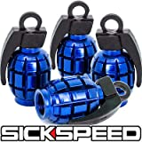 toyota tacoma rims and tires - 4 Anodized Grenade Valve Stem Cap Kit/Set For Rims/Wheels/Tires P3 Blue for Toyota Tacoma