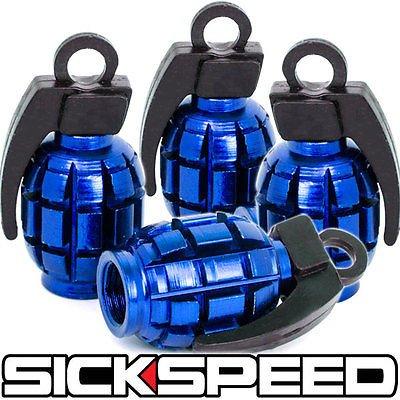4 Anodized Grenade Valve Stem Cap Kit/Set For Rims/Wheels/Tires P2 Blue for Nissan Altima
