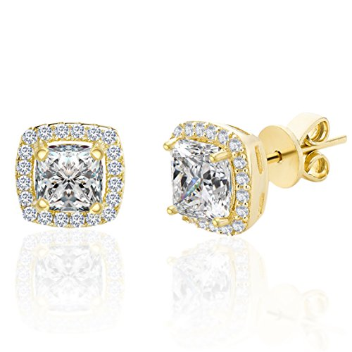 LESA MICHELE 2 Cttw Cubic Zirconia Cushion Shaped Halo Stud Gift Earrings for Women in Yellow Gold Plated 925 Sterling Silver (Yellow)