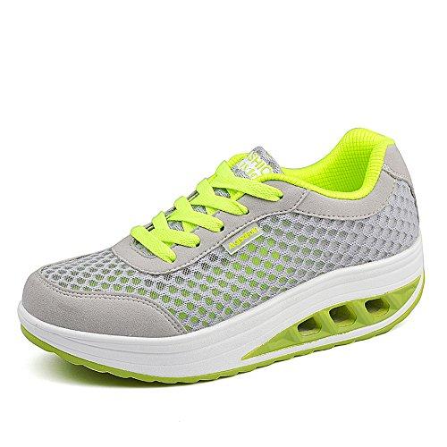 Agsdon Women's Comfortable Fashion Shake Shoes(Grey/Green)