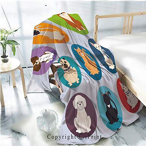 - Printed Soft Blanket Premium Blanket,Dogs and Cats Pets Characters Microfiber Aqua Blanket for Couch Bed Living Room,W59.1 xH78.7