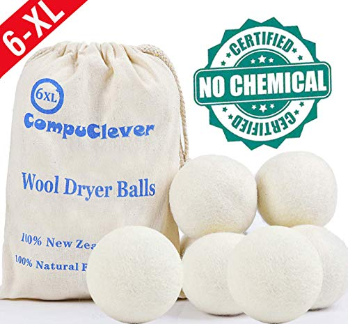 Wool Dryer Balls Organic XL 6-Pack Natural Fabric Softener Laundry Dryer Ball 100 Percent New Zealand Fabric Softener for 1000 Loads Baby Safe  Hypoallergenic Reduce Wrinkles Shorten Drying Time