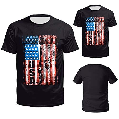 Men's Summer 3D USA Flag Casual Printed Men Shirts Loose Round Neck T-Shirt Tops Black ()