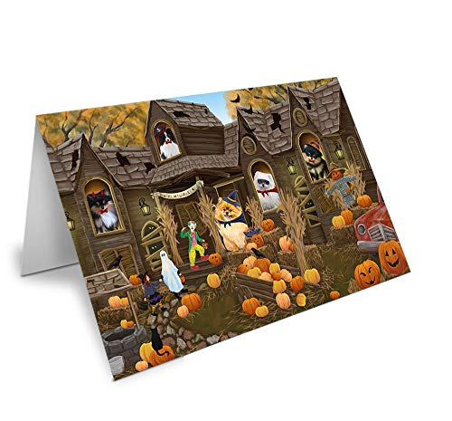 Haunted House Halloween Trick or Treat Pomeranians Dog Greeting Card GCD62687 ()