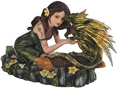 StealStreet Green Fairy Kneeling with Small Green & Yellow Dragon Figurine