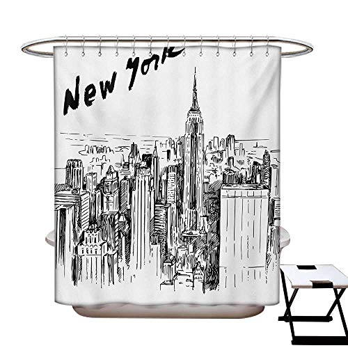BlountDecor New York Shower Curtain Collection by Vintage Hand Drawn Urban Scenery with Skyscrapers Sketch Style Downtown Patterned Shower Curtain W36 x L72 Charcoal Grey White (New York Yankees Rock)