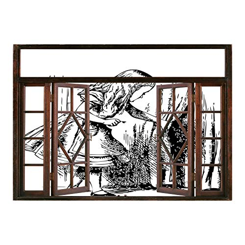 SCOCICI Removable 3D Windows Frame Wall Mural Stickers/Alice in Wonderland,Black and White Alice Looking Through Curtains Hidden Door Adventure Decorative,Black White/Wall Sticker Mural