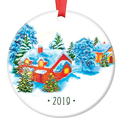 (Merry Christmas 2019 Tree Ornament Winter Wonderland Ceramic Collectible Happy Holidays Present to Coworker Teacher Doorman Neighbor 3