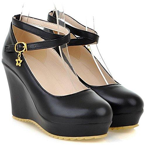 Coolcept Women Solid Wedge Heel Court Shoes Black cEtfrHVqQ