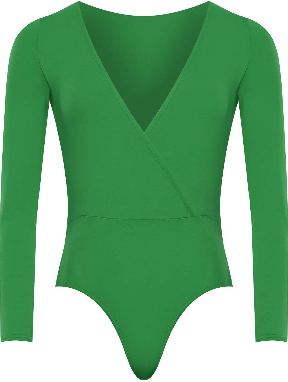 WearAll Plus Size Women's Wrap V Neck Long Sleeve Bodysuit Top - Jade - US 14-16 (UK 18-20)
