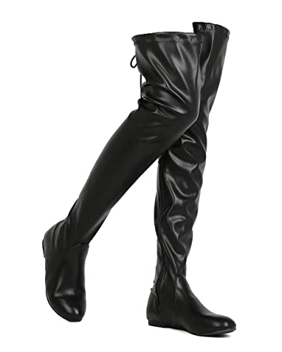 d0ad1d8ad4 ShoBeautiful Women's Thigh High Flat Boots Stretchy Drawstring Tie Fashion  Pu Over The Knee Boots Black