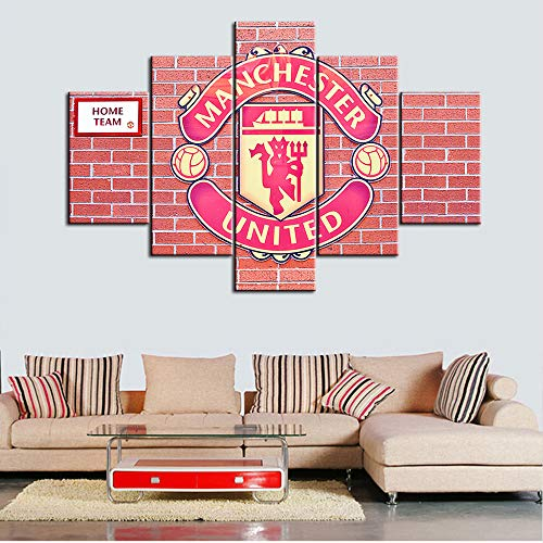 5 Piece Eegland Soccer Wall Art Modern Sports Canvas Picture Artwork Canvas Art Manchester United Football Club Logo Contemporary Wall Art Prints for Home Decoration Office Wall Decor - 60