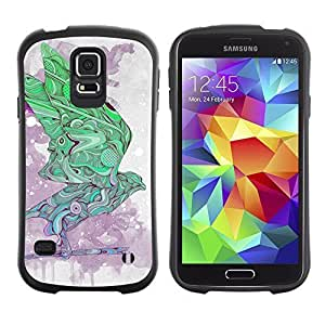 Hybrid Anti-Shock Bumper Case for Samsung Galaxy S5 / Cool Abstract Pattern Bird