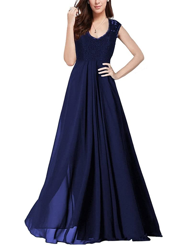 OFTEN? Women's Chiffon Bridesmaid Deep-V Neck Sleeveless Vintage Maxi Dress