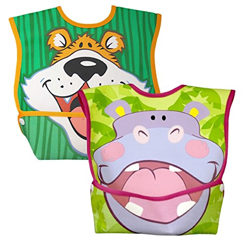 Price comparison product image Dex Baby Dura-Bib Big Mouth,  2 Pack,  Tiger / Hippo