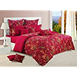Yuga 3 Piece Set Of King Size Cotton Maroon Bed Sheet With Decorative Pillow Covers