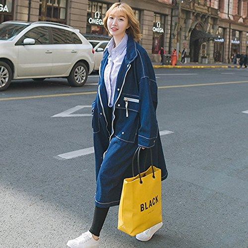 S bleu Xuanku La Veste Cowboy Cowboy Femme Veste Vent Longtemps Seul Rang Détenu Pure Couleur Jeans Femme