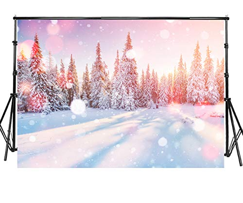 Sensfun 7x5ft Winter White Snow Tree Photography Backdrops Snowing Forest Scene Pine Tree Bokeh Glitter Sunlight Snowflake Photo Background Portrait Christmas Party Decor Studio Props(JJ024/7x5ft)