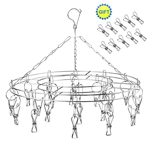Lingerie Rack (YTE Laundry Clothesline Hanging Rack for Drying Clothing Set of 20 Stainless Steel Clothespins and 10 Spare Units Clips)