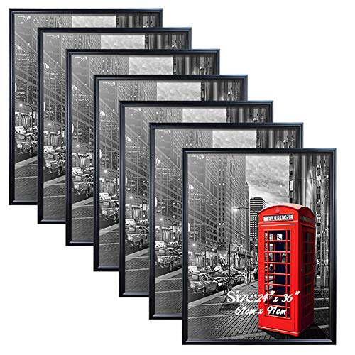 PETAFLOP 24x36 Poster Frame with Plexiglass Front Black Picture Frames for 24 x 36 inch Wall Art, 7 Pack ()