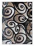 Cheap Modern Contemporary Area Rug Design Sculpture 241 (8 Feet X 10 Feet 6 Inch) Charcoal