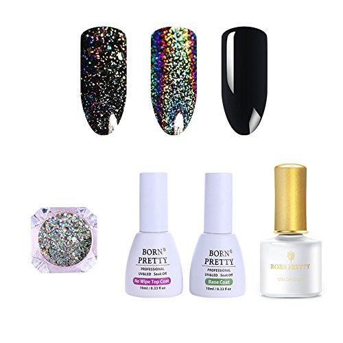 Born Pretty Galaxy Holographic Flakies Powder, Black UV Gel,