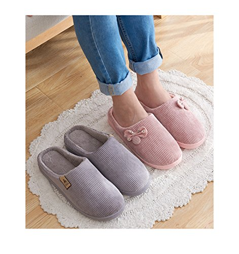 TELLW Cotton Slippers Female Male Cute Warm Non-Slip Home Half Pack Household Winter Furry Shoes Coffee KVPH81Zg