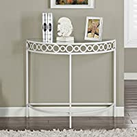 Monarch Specialties I 2122 White Metal Hall Console Accent Table, 36