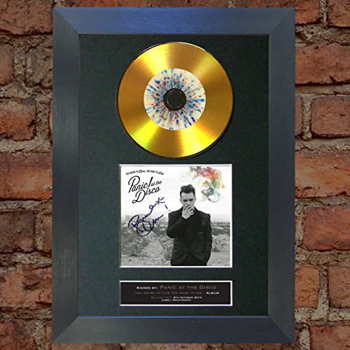 #127 Gold CD Panic at The Disco Too Weird to Live Too Rare to Die Signed Autograph CD & Cover Reproduction Print A4 Rare Perfect Birthday (297 x 210mm) (Black Frame)