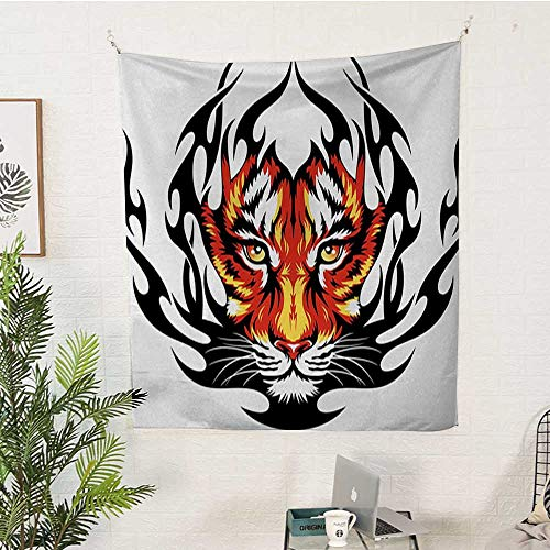 sunsunshine Tattoo Pattern Tapestry Jungle-Prince-Tigers-Head-in-Black-Flames-Frame-Looking-with-Cat-Eyes-Hunting Big Tapestry 70W x 84L INCHBlack-and-Orange