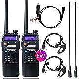 8Watt Ham Radio Baofeng Radio Baofeng Walkie Talkie with Rechargeable 3800mAh Battery UHF VHF Dual Band 2-Way Radio with TIDRADIO Driver Free Programming Cable 2 Pack