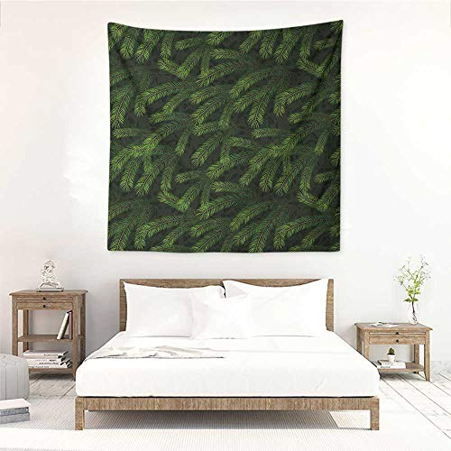 - Winter Wall Tapestry for Bedroom Vivid Fir Pine Branches Trees Coniferous Trees Evergreen Nature Forest Wall Hanging Carpet Throw 63W x 63L INCH Green Dark Green Caramel