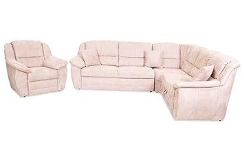 Sofa Rundecke Selva Mit Sessel Braun Luxus Microfaser Braun